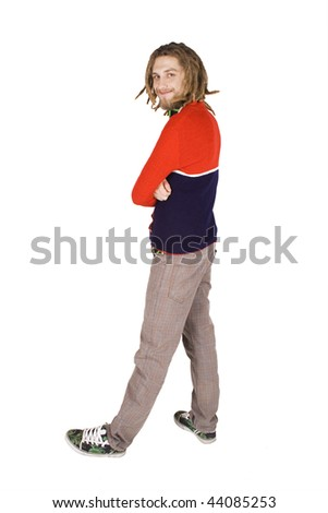 young dreadlock man stand isolated - stock photo