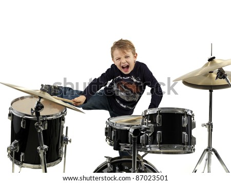 young drummer boy - stock photo