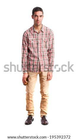 young drunk man - stock photo
