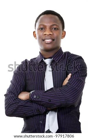 Young dynamic businessman of african descent - stock photo
