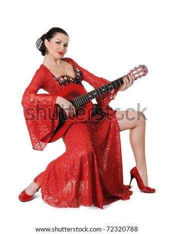 Young elegance flamenco style woman with guitar on white background - stock photo