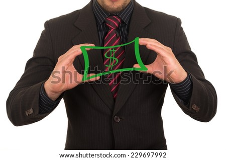 young elegant businessman dressed in black holding drawn sketched money bill concept of security salary power success - stock photo