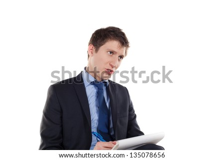 young elegant businessman work on white background