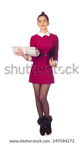 Young elegant ledy holding files