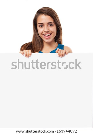 young elegant woman holding a banner on a white background