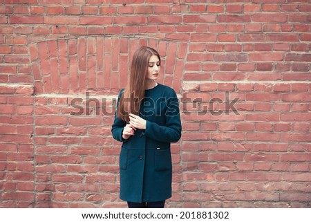 Young elegant woman in front of brick wall