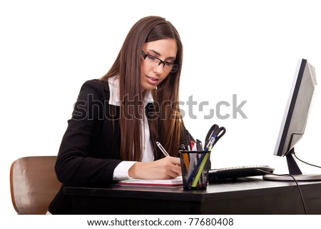 young employer businesswoman work in office - stock photo