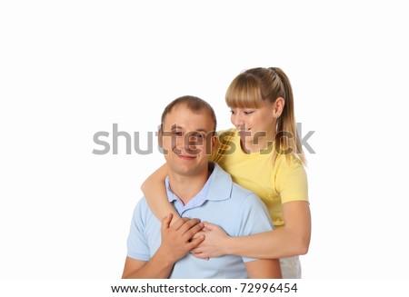 Young enamoured couple - stock photo