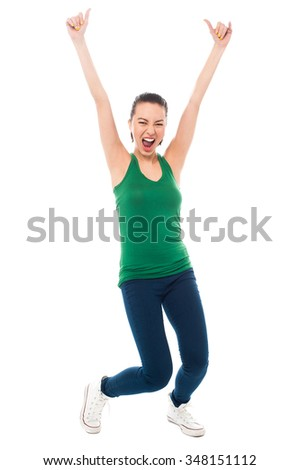 Young energetic woman, full length portrait. - stock photo