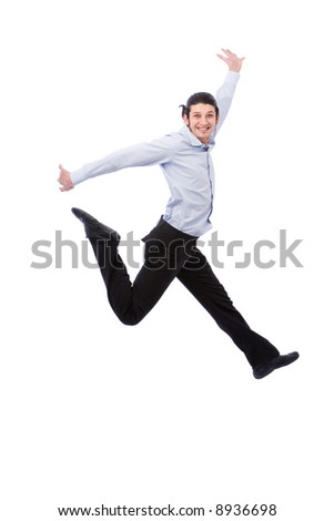 young energic businessman jumping high on white