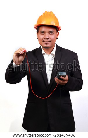 Young engineer portrait and electrical tester  - stock photo