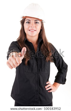 Young engineer posing, isolated over white - stock photo