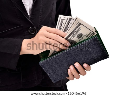 Young entrepreneur counting many dollars in purse, isolated on white background - stock photo