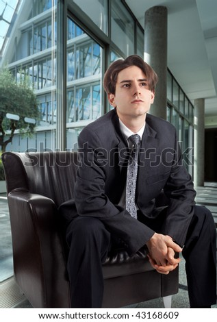 young entrepreneur sitting waiting for the meeting