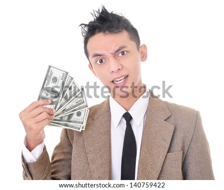 Young entrepreneurs show off the American dollar with spooky face, isolated on white background - stock photo