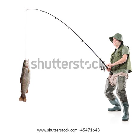 Young euphoric fisherman catching a fish isolated on white background - stock photo