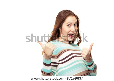 Young exited girl showing two thumbs up, isolated on white - stock photo
