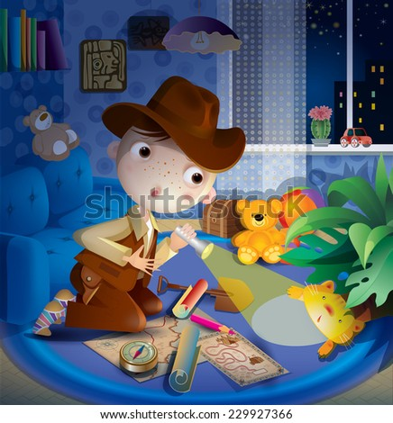 young explorer in the children's room - stock photo