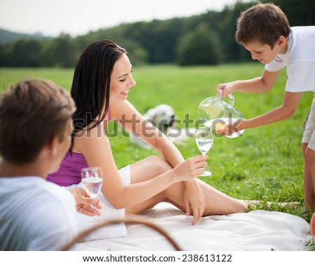 Young family at picnic in park, boy serving water - stock photo