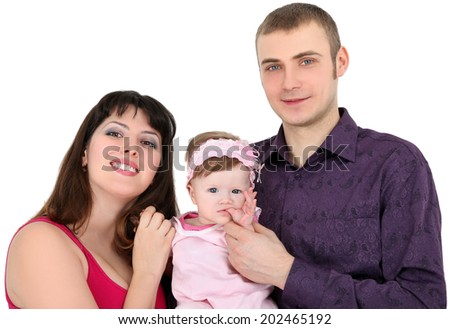Young family. Father, mother and daughter on white background. - stock photo