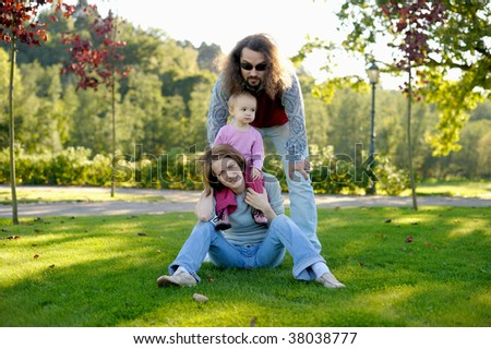 Young family in a park