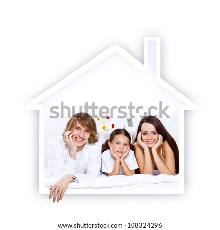 Young family with a daughter and house