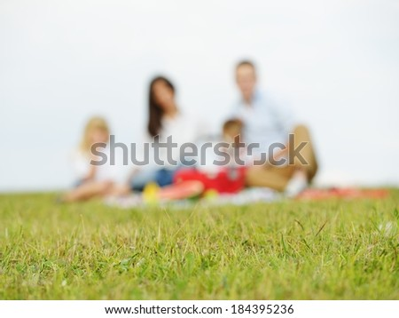 Young family with kids having picnic on green grass meadow in nature (blurred image)