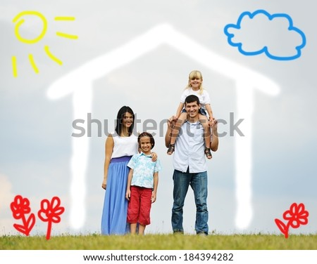 Young family with new home illustrated - stock photo