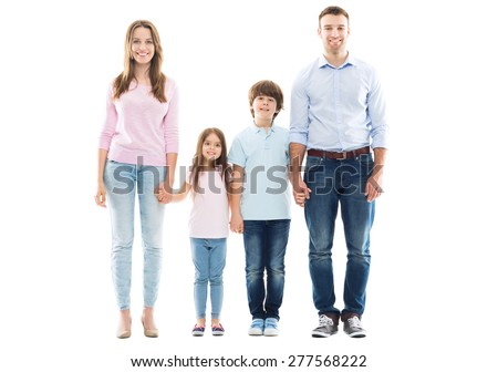 Young family with two kids  - stock photo