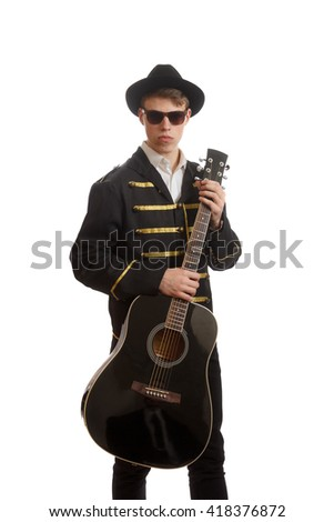 Young fancy guitarist - stock photo