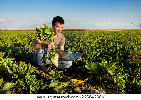 Young farmer holding sugar beet and laptop in field - stock photo