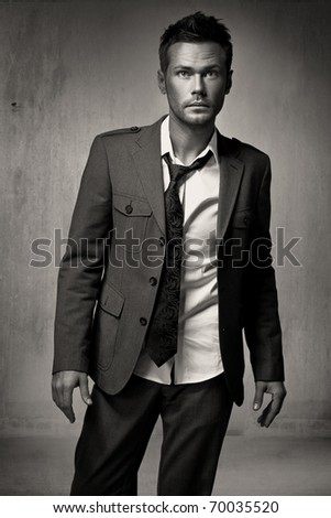 Young fashion man model - stock photo