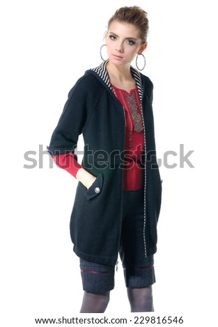 young fashion model posing on white background  - stock photo