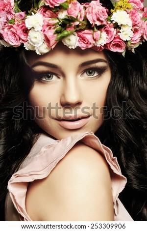 Young fashion model woman, face closeup - stock photo