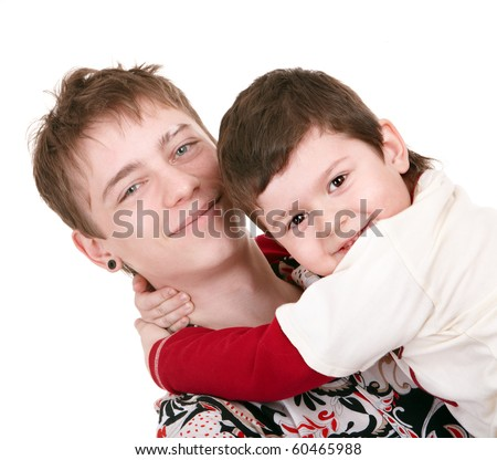 Young father and little son. Isolated. - stock photo