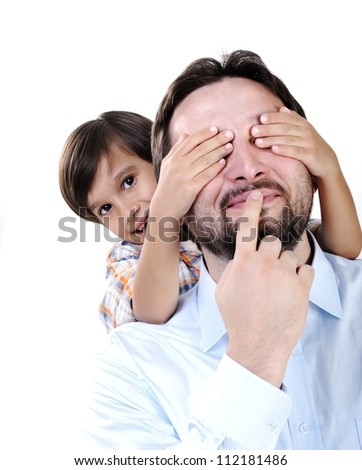Young father and son - stock photo