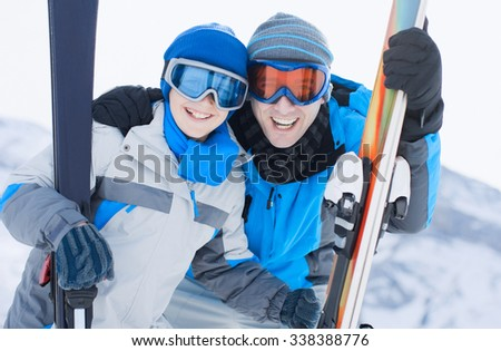 Young Father And Son On Winter - stock photo