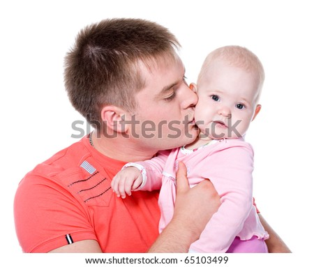 Young father kissing happy baby - isolated on white - stock photo