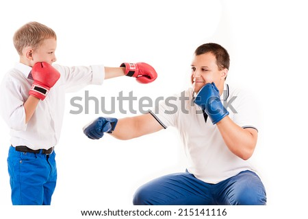 young father of boxing with son - stock photo