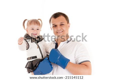 young father with a daughter - stock photo