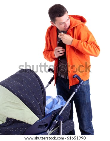 young father with baby buggy drinking alcohol - stock photo