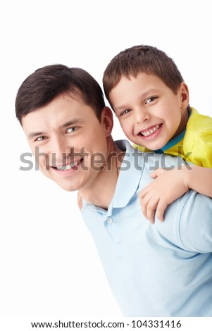 Young father with his son on a white background - stock photo