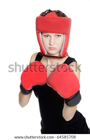 young female boxer isolated over white