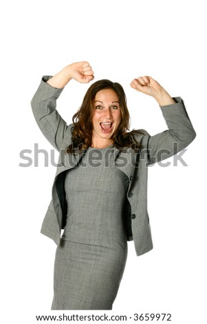 Young female businesswoman with both arms up in air showing jubilation, isolated on white. - stock photo