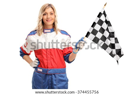 Young female car racer waving a checkered race flag and looking at the camera isolated on white background - stock photo
