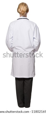 Young female doctor smiling facing away from camera casual - white background - stock photo