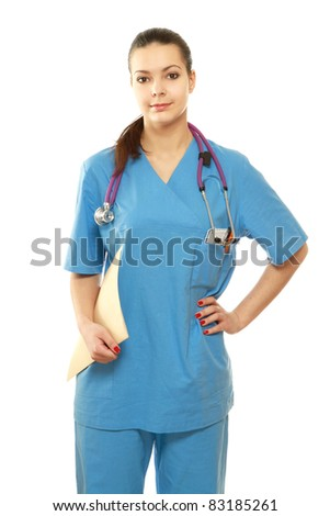 Young female doctor with a clipboard looking at camera.