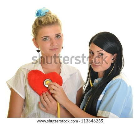 Young female doctor with female patient.