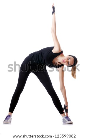 Young female doing exercises - stock photo