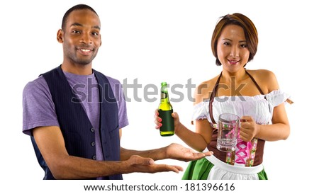 young female dressed in St Patty's costume serving customers - stock photo
